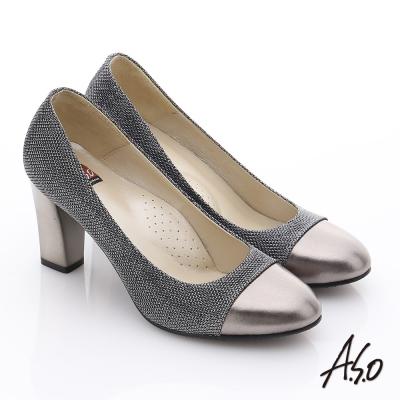 A.S.O 奢華美型 全真皮華麗耀眼金蔥拼接粗跟鞋 黑