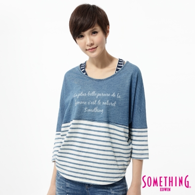 SOMETHING-T恤-海洋風條紋剪接七分袖T恤-女-漂淺藍