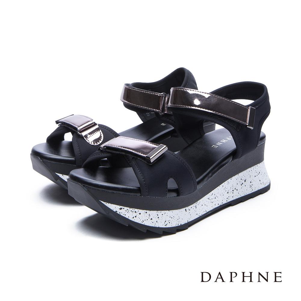 達芙妮DAPHNE涼鞋-魔鬼氈撞色潑墨厚底涼鞋-黑