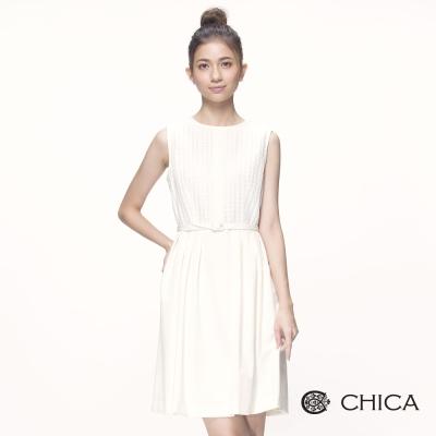 CHICA 簡約素雅假兩件拼接格紋收腰設計洋裝(2色)