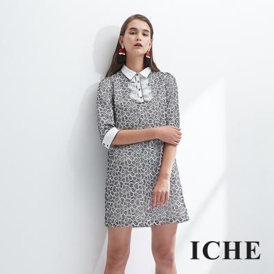 ICHE衣哲 立體簍空印花設計拼接荷葉襯衫式洋裝-動態show