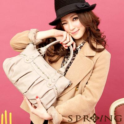 【SPRING】時尚名模~英倫美學刺繡2way手提包(小)-咖啡杏(共兩色)