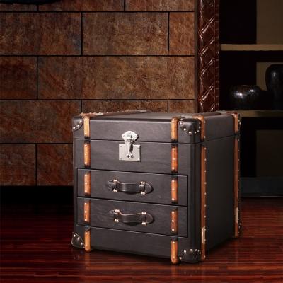 MUSE_Richards理查茲復古黑牛皮掀蓋雙抽收藏箱