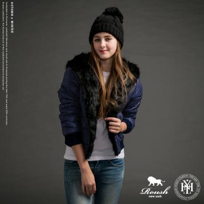 ROUSH 女生鋪毛設計點點連帽禦寒外套 (2色)
