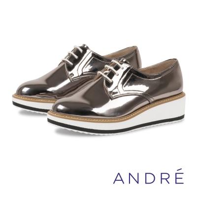 ANDRE-厚底休閒德比平底鞋-銀灰色