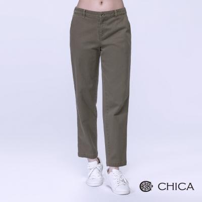 CHICA 牛仔面料九分小直筒長褲(3色)