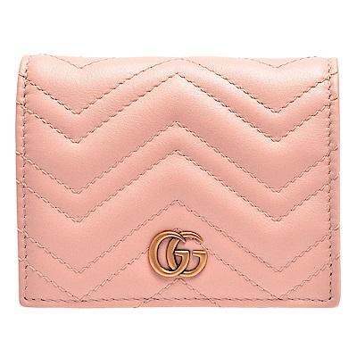 GUCCI GG Marmont系列絎縫紋牛皮金屬雙G LOGO暗釦卡夾/零錢包(粉)