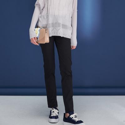 Hana+花木馬 簡約無印風挺版合身素面百搭直筒鉛筆造型長褲(兩色)-黑
