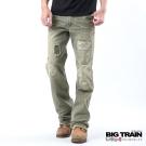 BIG TRAIN-水洗割破直筒褲-軍綠