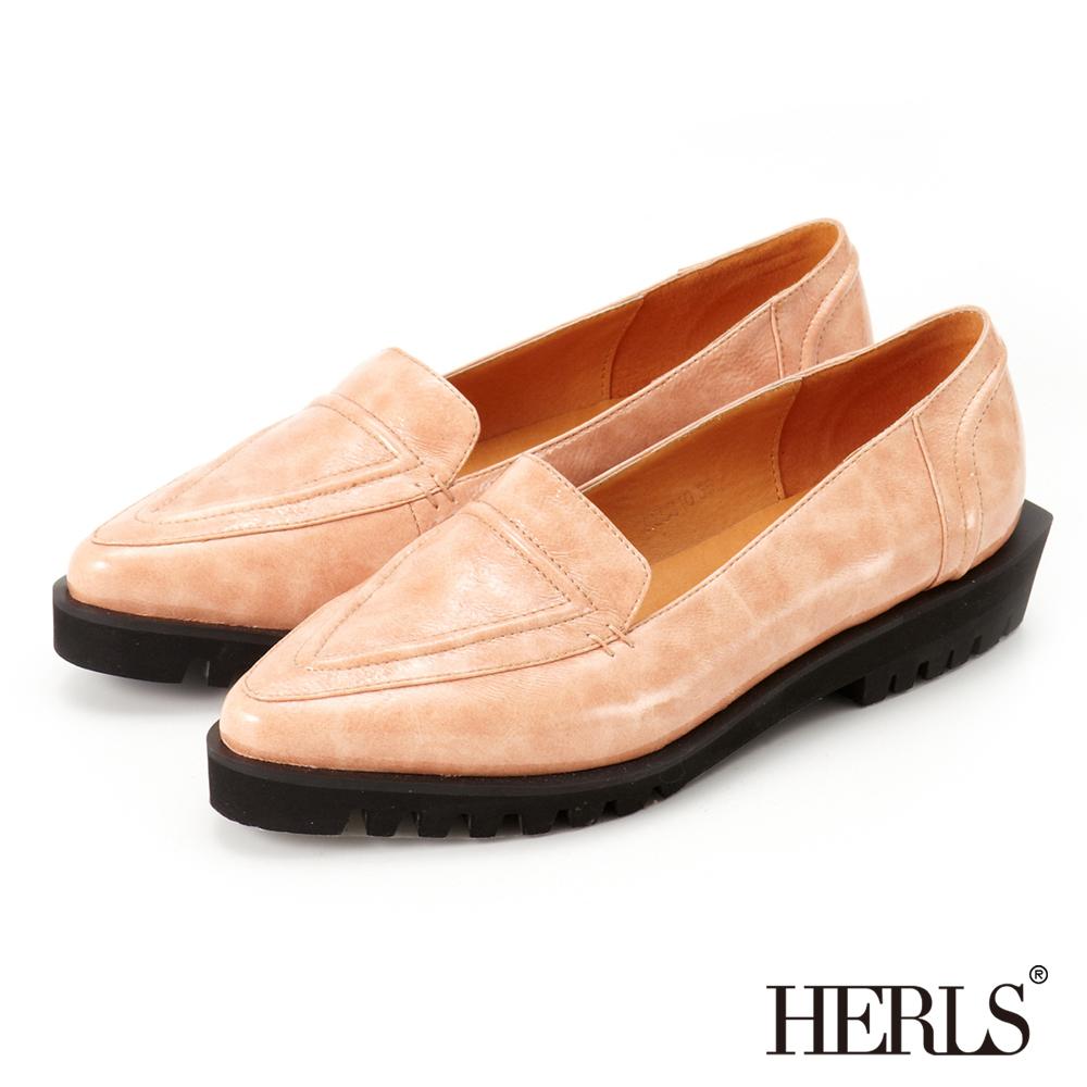 HERLS-亮面漆皮 個性厚底 樂福鞋-鏡面粉色