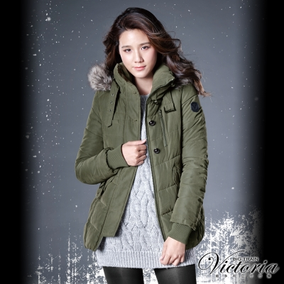 Victoria 花苞絲棉外套-女-綠色