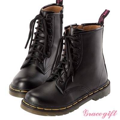Grace gift 人氣不敗!復古牛皮拉鍊馬汀靴 黑