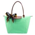Longchamp 折疊大型長提把水餃包-蘋果綠(加贈帕巾)
