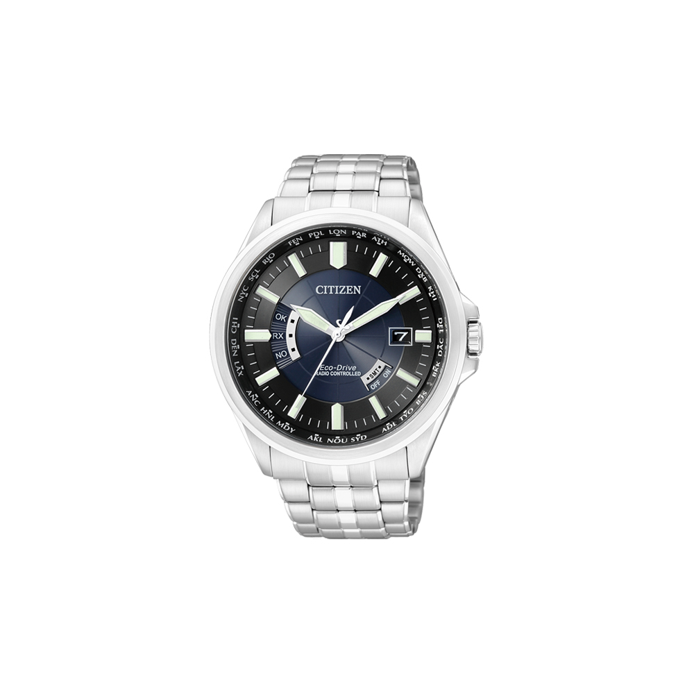 CITIZEN Eco-Drive 電波萬年曆鋼帶腕錶(CB0011-51L)-黑+藍/44mm