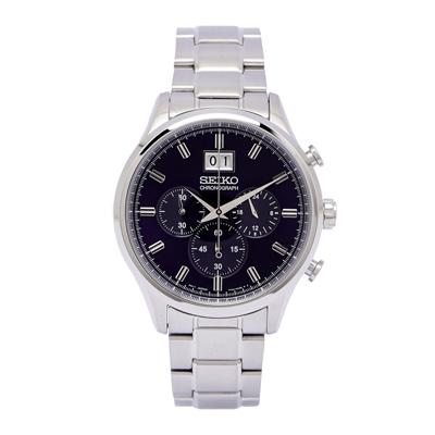 SEIKO 耀眼尊爵風男性雙眼計時手錶(SPC083P1)-黑/42mm