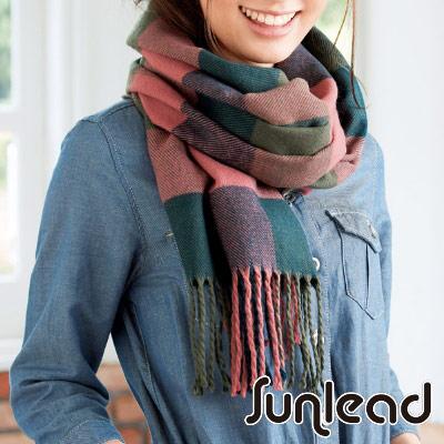 Sunlead 經典格紋密針織保暖防寒多機能披肩/罩衫/圍巾