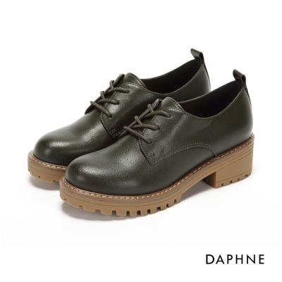 達芙妮DAPHNE 休閒鞋-繫帶皮革紋拼接鋸齒學院風休閒鞋-橄欖綠