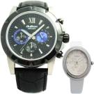 AuRox歐銳時英倫紳士三眼計時不鏽鋼石英男錶-45mm(送山茶花女錶)