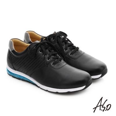 A.S.O 輕旅健步 真皮抗震奈米綁帶休閒鞋 黑色