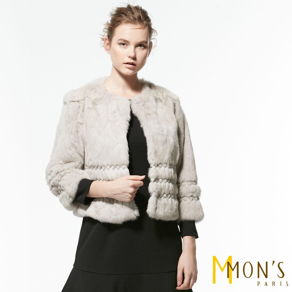 MONS 獨特車線兔毛短外套