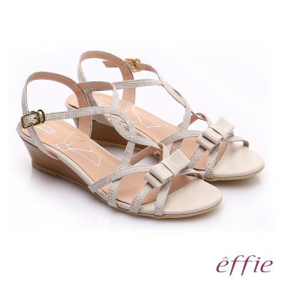 effie  個性涼夏 真皮線條蝴蝶結飾楔型涼鞋 米色