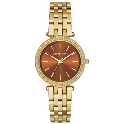 Michael Kors 光燦耀眼晶鑽都會腕錶-棕x淡金x小/33mm