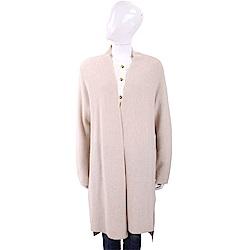 MARELLA 喀什米爾米色坑條織紋開襟長版羊毛罩衫