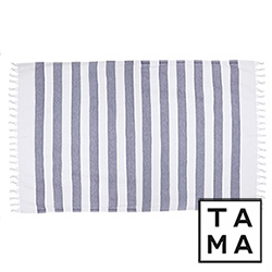 TAMA 天然純淨頂級土耳其手工平織薄巾(海軍條紋藍)
