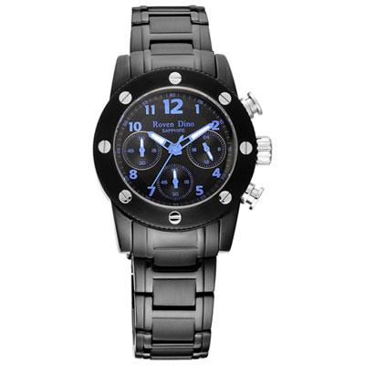 Roven Dino羅梵迪諾 童心未泯三眼計時腕錶-黑藍/37mm