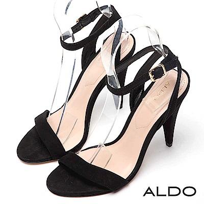ALDO 原色真皮性感一字金屬釦帶繫踝高跟涼鞋~尊爵黑色