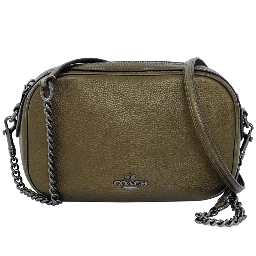 COACH青銅色荔枝紋全皮寬底鍊帶斜背小包