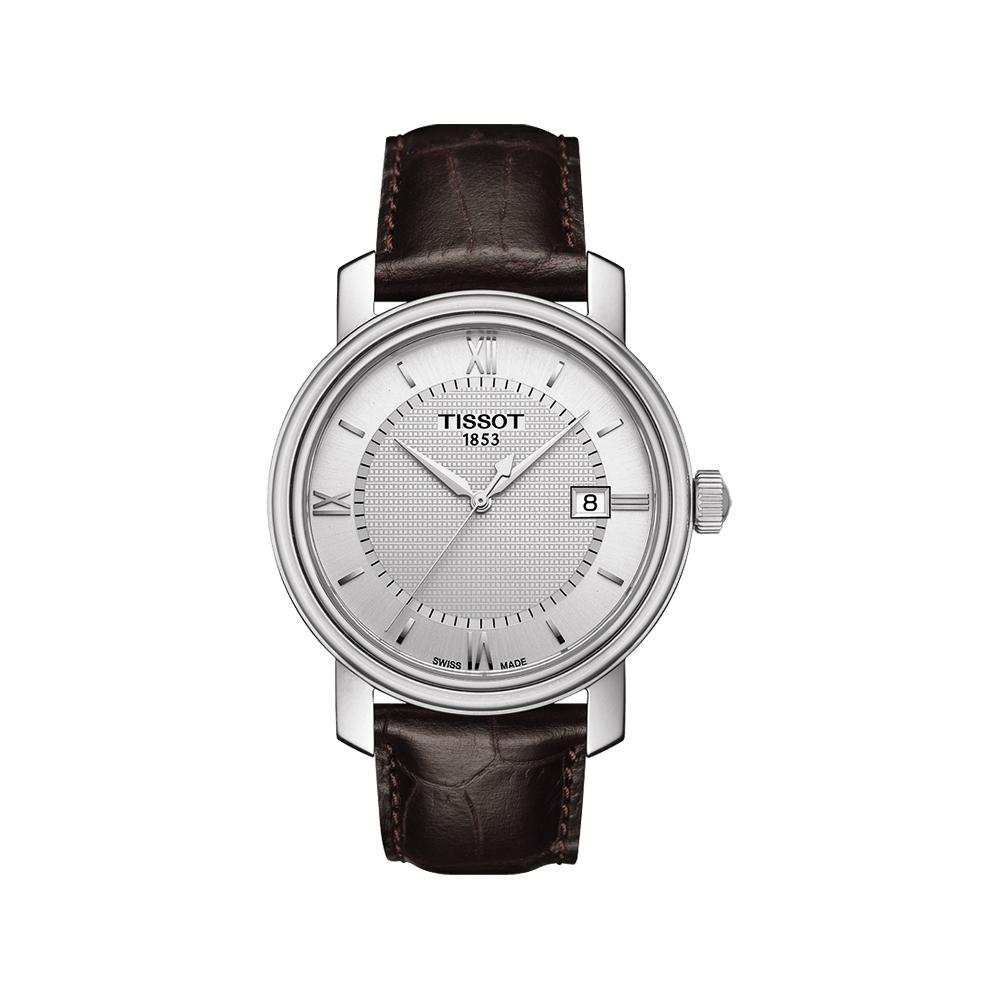 TISSOT Bridgeport 寶環系列經典石英腕錶-銀x咖啡/40mm