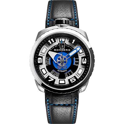 BOMBERG 炸彈錶 BOLT-68 自動上鍊機械錶-藍x銀/45mm