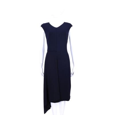 MAX MARA-SPORTMAX 深藍色不規則剪裁包袖洋裝
