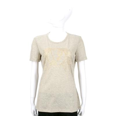 VERSACE T-Shirt 金色LOGO亮珠飾短袖上衣(金色)
