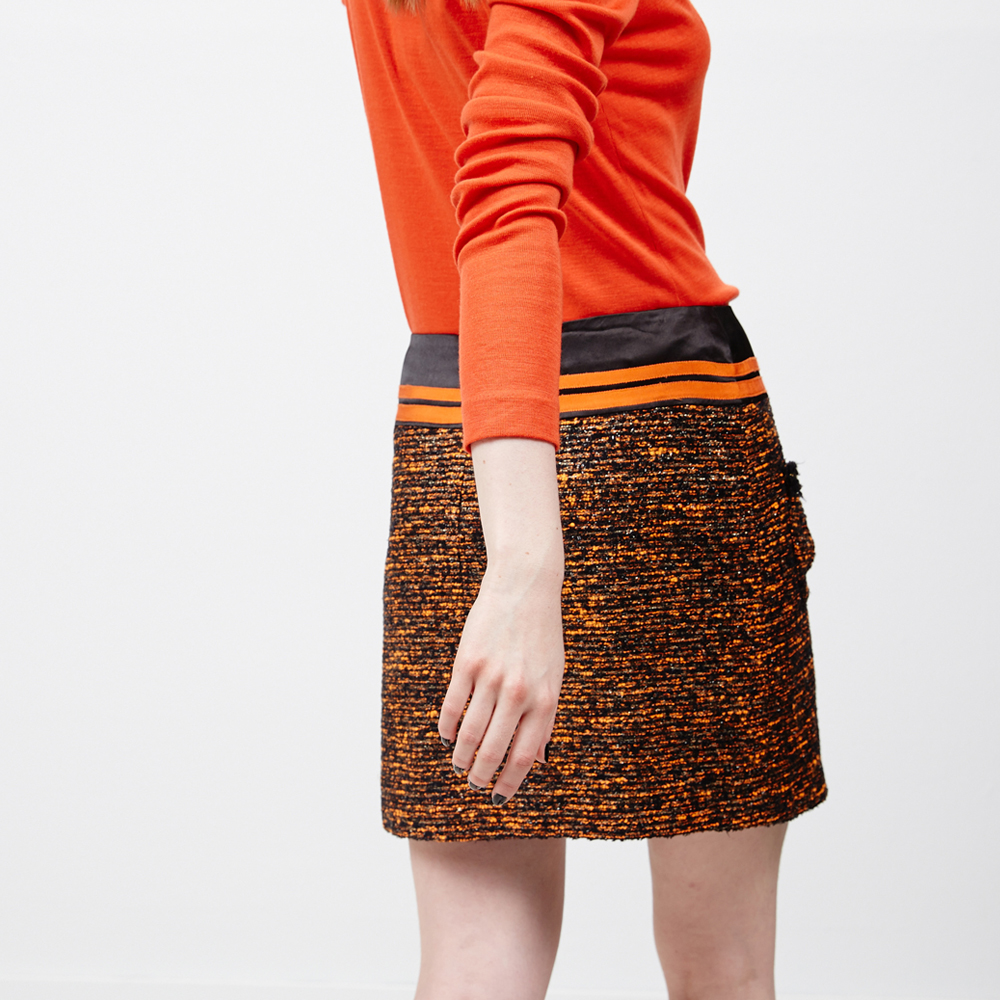 ICHE 衣哲 多色混織金蔥紗鉛筆裙