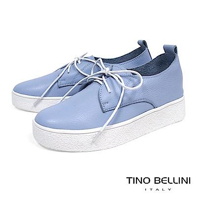 Tino Bellini 牛皮柔軟厚底綁帶休閒鞋_ 藍