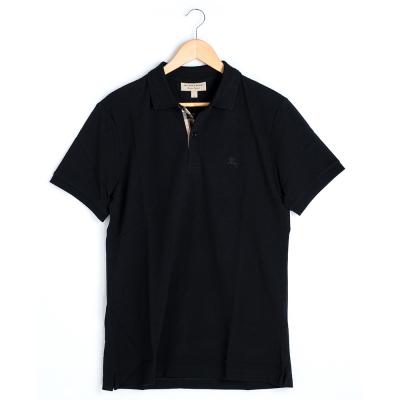 BURBERRY 黑色 格紋開襟珠地網眼棉質 POLO 衫