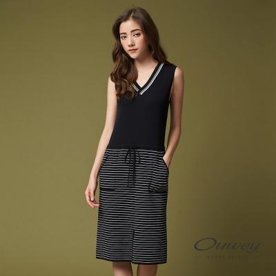 OUWEY歐薇 簡約條紋針織背心洋裝(黑)-動態show