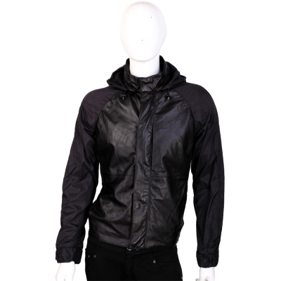 EMPORIO ARMANI JEANS 小羊皮拼接設計連帽外套(黑色)