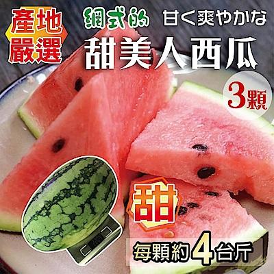 【天天果園】吊網甜美人西瓜x3顆(4斤/顆)