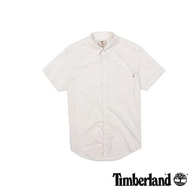 Timberland 男款灰白細格紋短袖襯衫