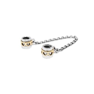 Pandora 潘朵拉 14K金愛心安全錘鍊安全扣 純銀墜飾