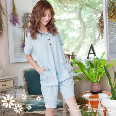 睡衣 綺麗花園短袖睡衣(藍) Emily Sweet