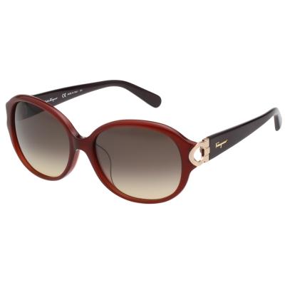 Salvatore Ferragamo-圓面 太陽眼鏡(咖啡色)SF801SA