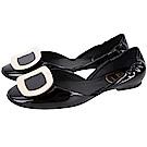 Roger Vivier Chips 金屬方釦漆皮芭蕾舞鞋(黑色)
