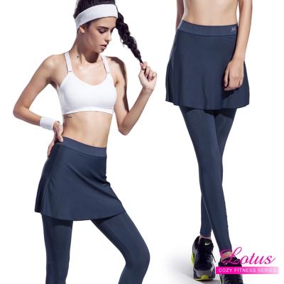 運動褲 彈力翹臀微壓運動機能褲裙-冰河銀 LOTUS