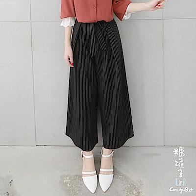 糖罐子-壓摺拉鍊縮腰綁帶直紋寬褲(黑)