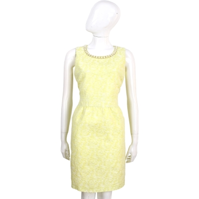 BLUGIRL 萊姆黃珍珠領無袖花苞洋裝