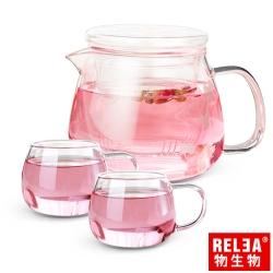 香港RELEA物生物 小花耐熱玻璃泡茶壺500ml (一壺二杯套裝組)